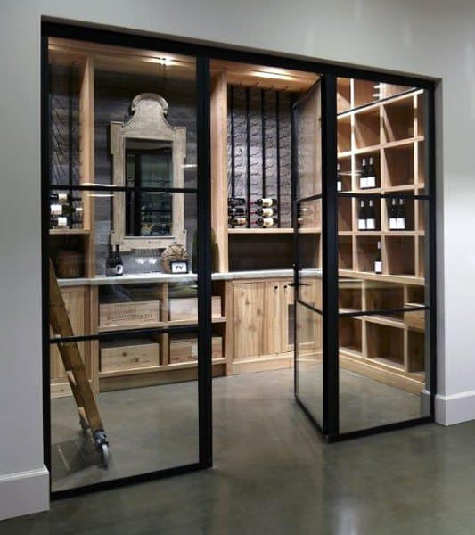 Glass Doors With Wood Storage Racks Wine Cellar Ideas