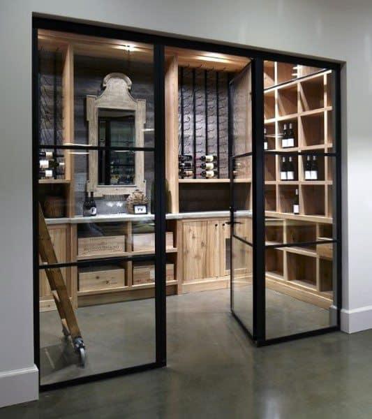Glass Doors With Wood Storage Racks Wine Cellar Ideas