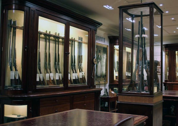 Glass Encased Collectors Firearms In Gun Room