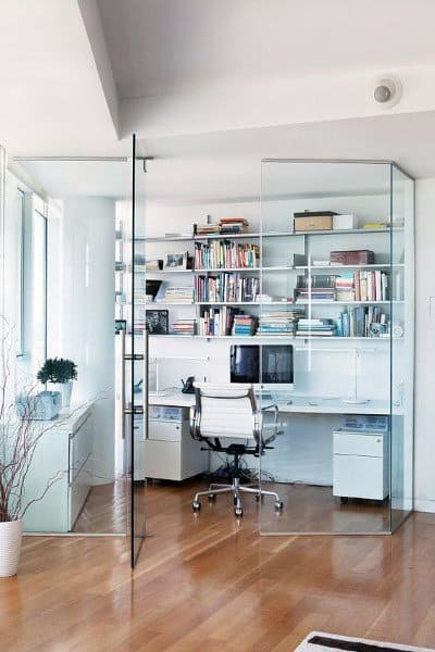 Glass Encased Small Home Office Ideas