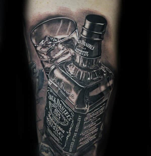 Glass Jack Daniels Bottle Mens Arm 3d Tattoos