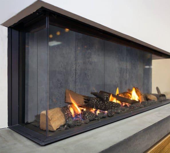 Glass Modern Gas Burning Fireplace Design