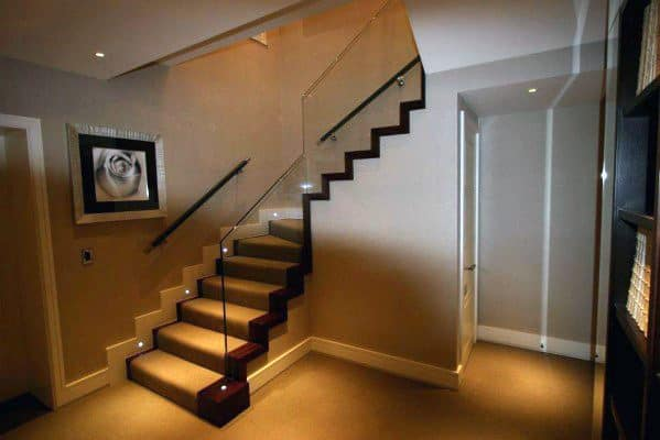 Glass Railing Cool Basement Stairs Design Ideas