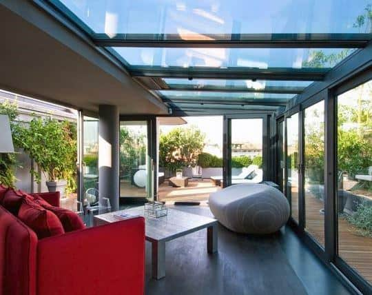 Glass Roof And Walls Sunroom Ideas