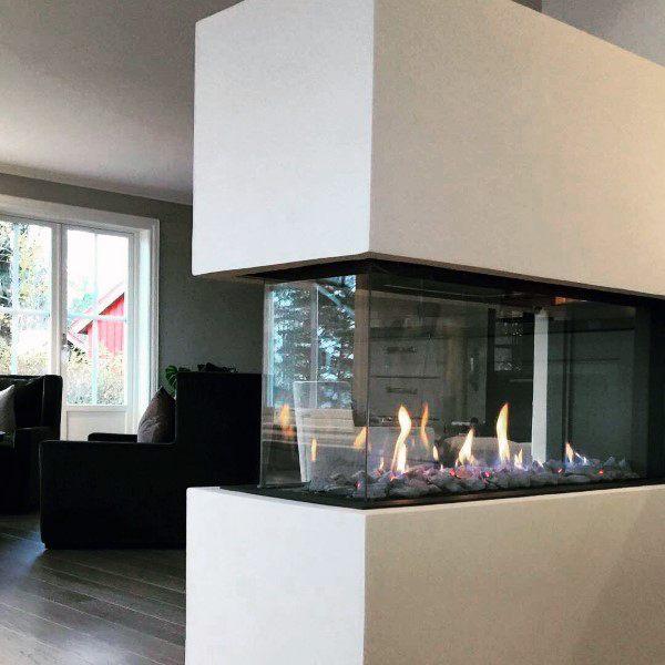 Glass See Through Corner Gas Fireplace Design Ideas