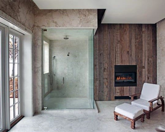 Glass Shower With Fireplace Rustic Bathroom Ideas