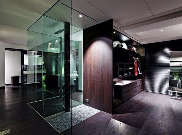 Glass Shower With Open Walk In Closet