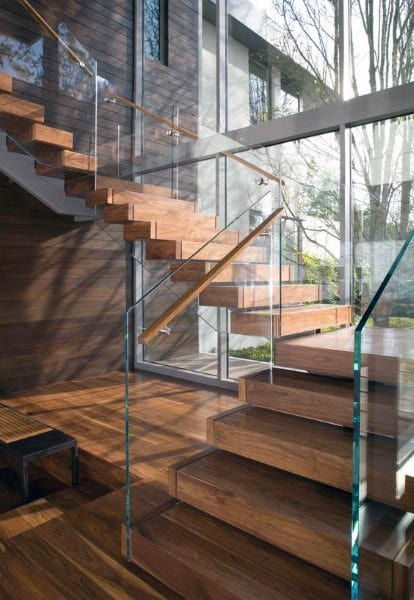 Glass With Floating Wood Steps Stair Design Ideas