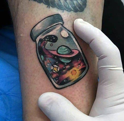 Glass With Outer Space Night Sky Guys Small Colorful Arm Tattoo