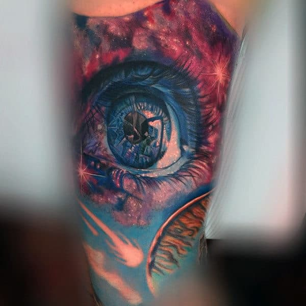 Glassy Blue Eyes Inside Universe Tattoo On Arms For Guys