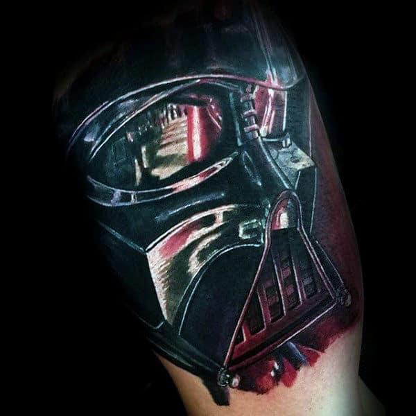 Glassy Darth Vader Tattoo Mens Arms