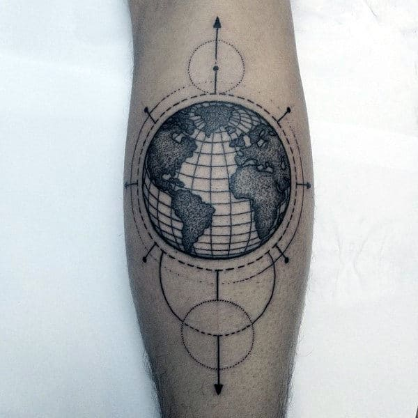 Globe Circle Tattoos For Men