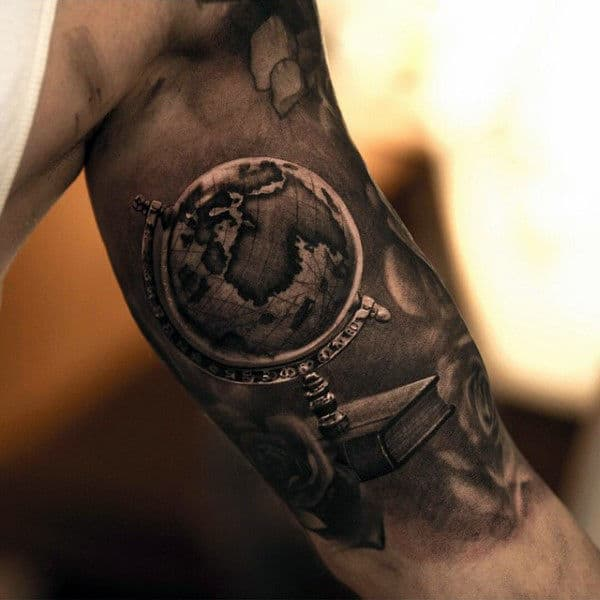 Globe Inner Arm Mens Tattoos