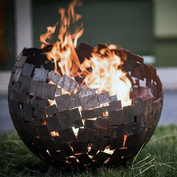 Globe Square Cubes Welded Together Metal Fire Pit Ideas