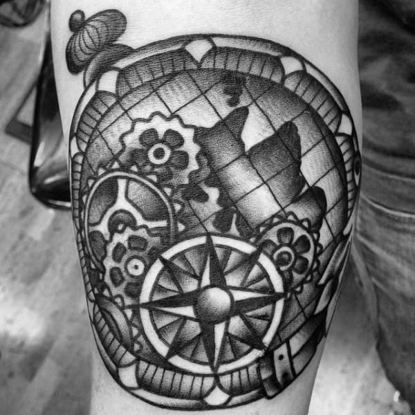 Globe With Gears Guys Compass Traditional Inner Forearm Tattoo