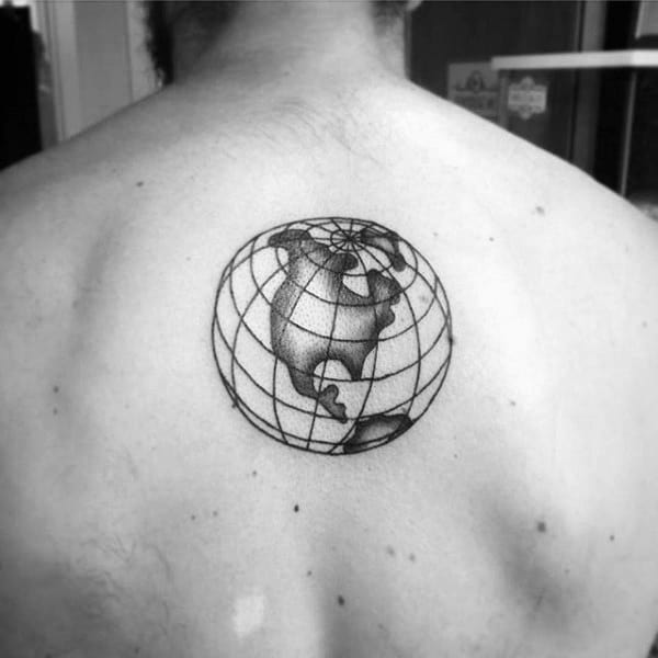 Globe With Lines Mens Upper Back Small Tattoo Ideas
