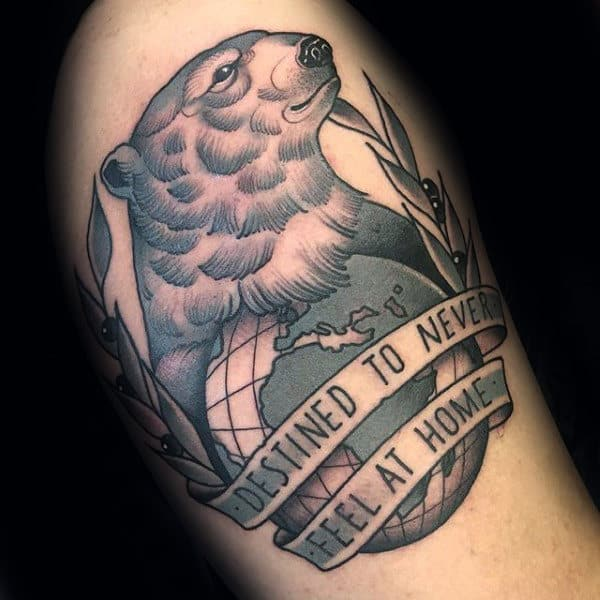 Globe With Polar Bear Mens Arm Tattoo