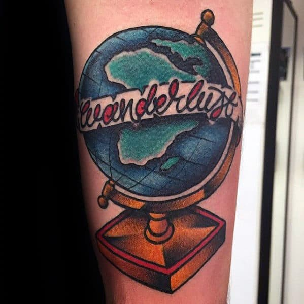 Globe With Wanderlust Banner Mens Old School Tattoo On Forearm