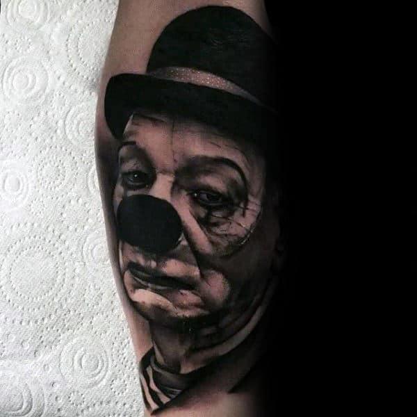 Gloom Looking Clown Mens Arm Tattoos