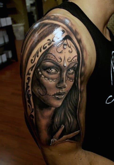Glossy Beautiful Day Of The Dead Veiled Lady Tattoo Guys Arms