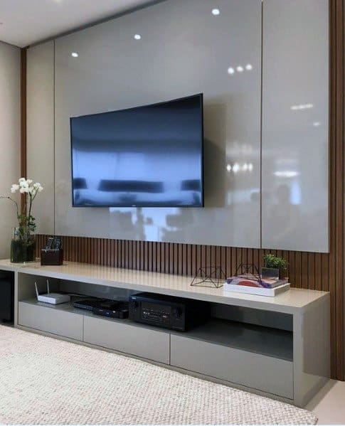 Glossy Grey Board With Wood Slats Tv Wall Ideas Inspiration