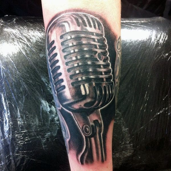 Glossy Microphone Tattoo Male Forearms