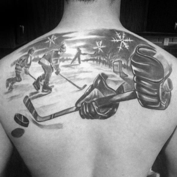 Gloves With Stick Moving Puck Guys Hockey Upper Back Tattoos