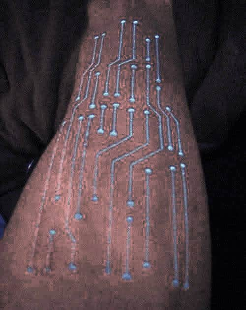 Glow In The Dark Circuit Board Mens Forearm Tattoo Inspiration