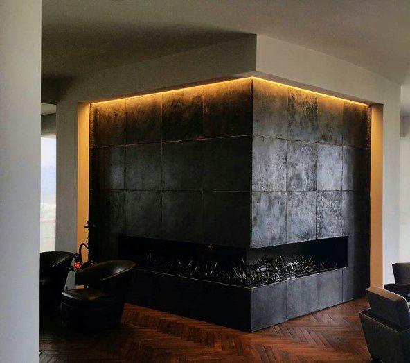 Glow Led Modern Fireplace Design