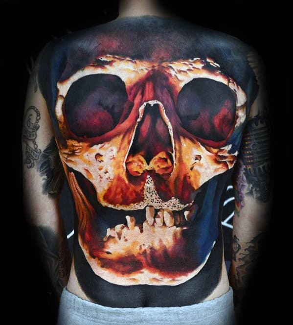 Glowing 3d Skull Back Tattoo Designs For Guys