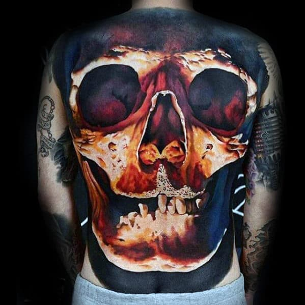 Glowing 3d Skull Unbelievable Mens Realistic Back Tattoos