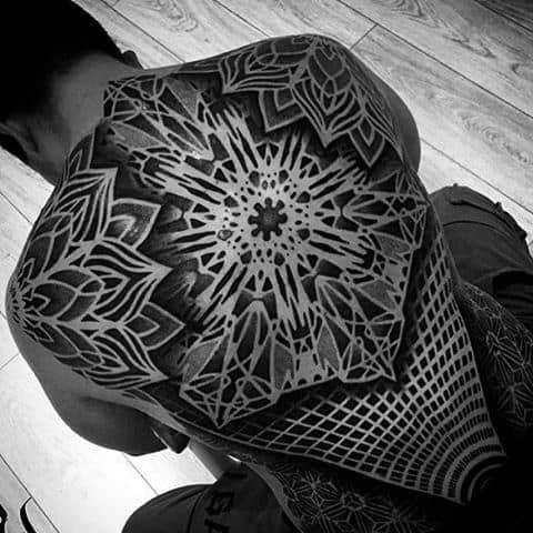 Glowing Black And White Pattern Tattoo Male Full Back