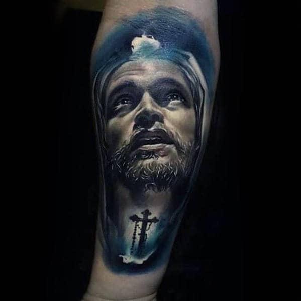 Glowing Blue Mens Jesus Cross Forearm Tattoo