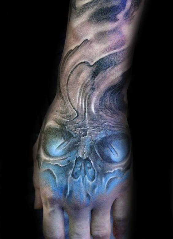 Glowing Blue Skull Shaded Mens Hand Tattoos