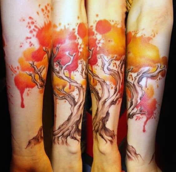 Glowing Fire Watercolor Tree Tattoo Male Forearms