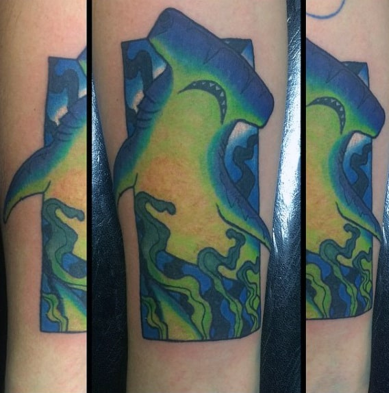 Glowing Green And Blue Hammerhead Shark Forearm Male Tattoo Ideas