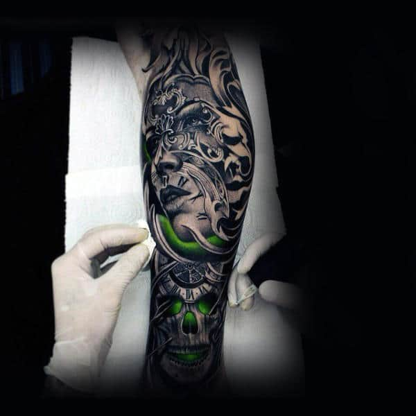 Glowing Green Skull Insane Guys Sleeve Tattoos