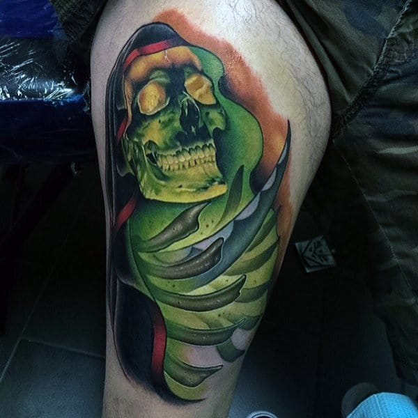 Glowing Green Skull Mens Colorful Thigh Tatotos