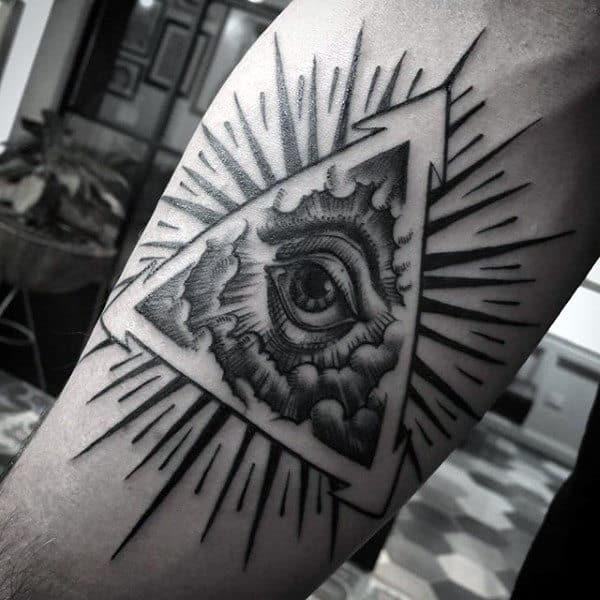 Glowing Grey Illuminati Tattoo Male Forearms