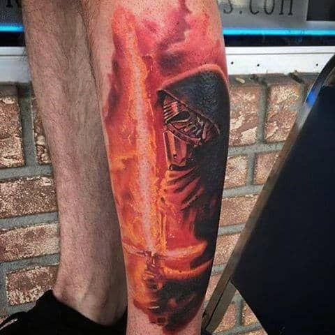 Glowing Lightsaber Leg Sleeve Mens Tattoos