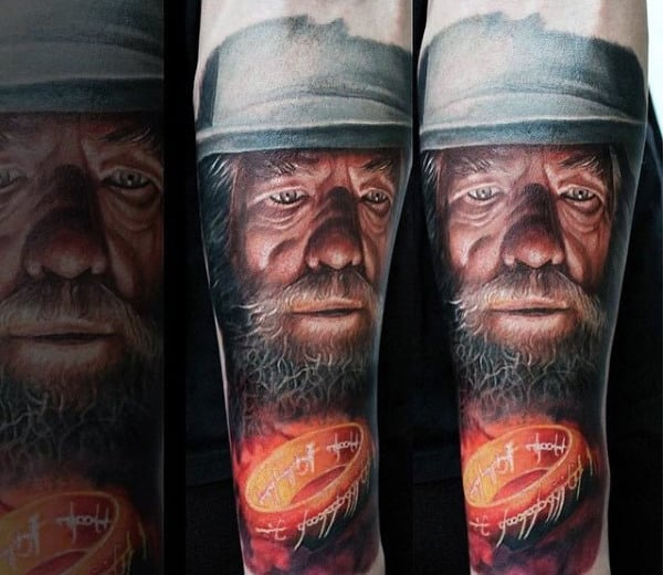 Glowing One Ring Mens Lord Of The Rings Forearm Tattoos
