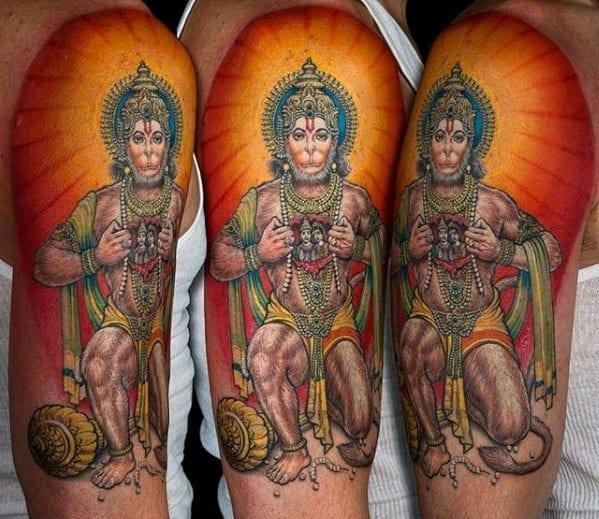 60 hanuman tattoo designs for men hinduism ink ideas. Black Bedroom Furniture Sets. Home Design Ideas