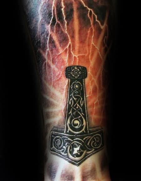 Glowing Orange Lighting Bolts Mjolnir Mens Sleeve Tattoos