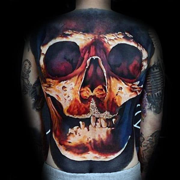 Glowing Realistic 3d Skull Male Full Back Tattoo Designs