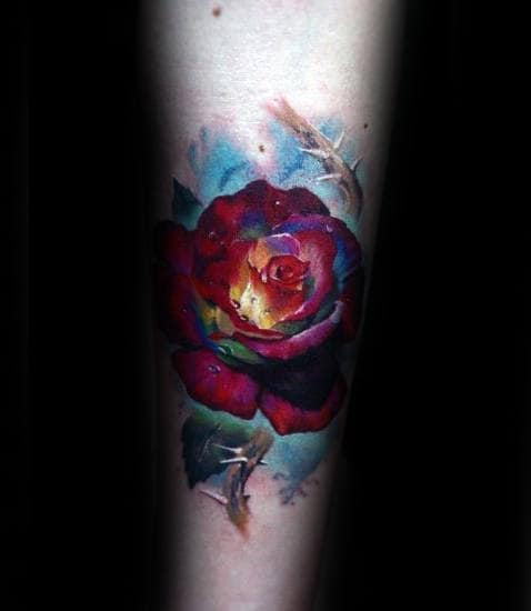 Glowing Realistic Rose Mens Watercolor Inner Forearm Tattoos
