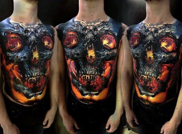 Glowing Realistic Skull Mens Full Chest Tattoo Designs