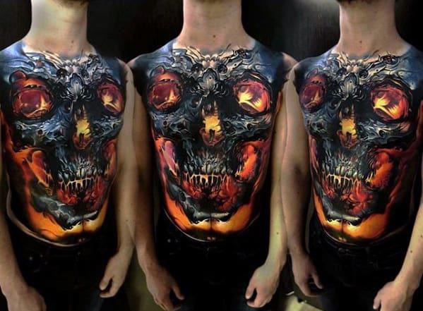 Full Chest Tattoos Skull: 50 Realistic Skull Tattoos For Men
