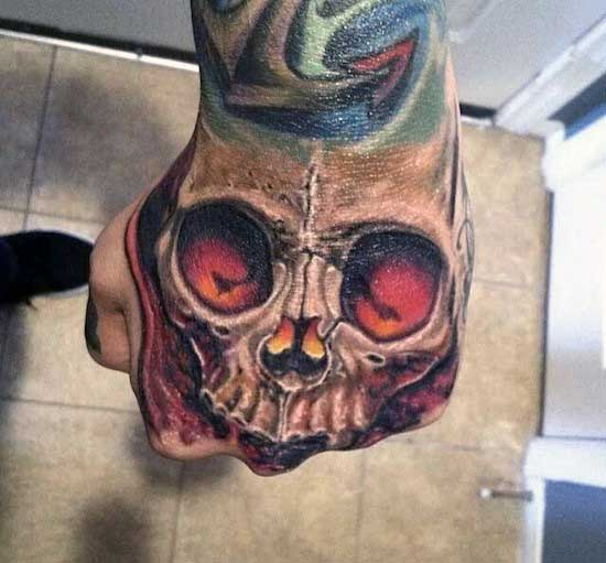 Glowing Red And Orange Skull Hand Tattoos For Guys