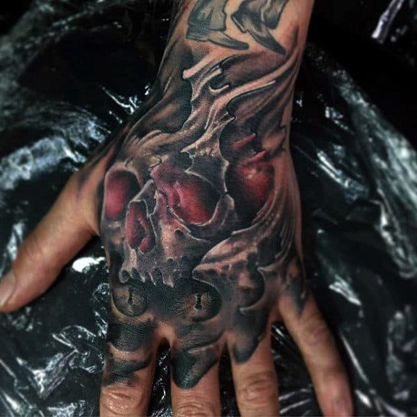 Glowing Red Ink Skull Mens Hand Tattoos