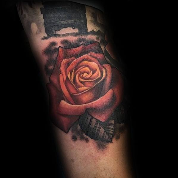 Glowing Rose Flower 3d Sharp Ditch Male Elbow Crease Tattoo Ideas
